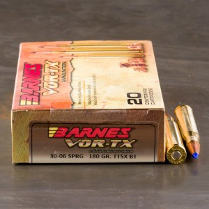 20rds - 30-06 Barnes VOR-TX Polymer Tip 180gr. Tipped TSX Boattail Ammo