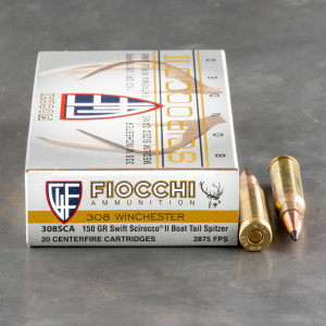20rds – 308 Win Fiocchi Extrema 150gr. Polymer Tipped Spitzer Ammo