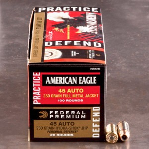 120rds - 45 ACP Federal American Eagle 230gr. FMJ and Hydra-Shok 230gr. JHP Ammo
