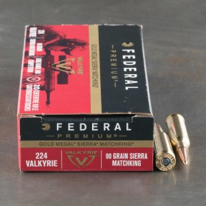 200rds - 224 Valkyrie Federal Gold Metal 90gr. Sierra MatchKing BTHP Ammo