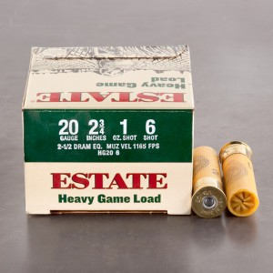 "25rds – 20 Gauge Estate Heavy Game Load 2-3/4"" 1oz. #6 Shot Ammo"