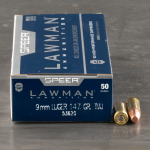 50rds - 9mm Speer Lawman 147gr. TMJ Ammo