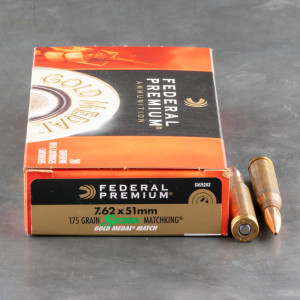 20rds – 7.62x51 Federal Gold Medal 175gr. MatchKing BTHP Ammo