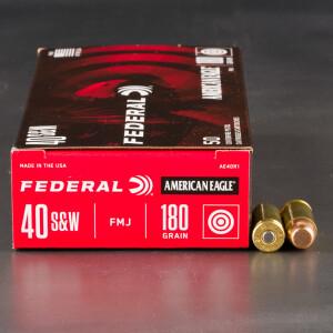 1000rds - 40 S&W Federal American Eagle 180gr. FMJ Ammo