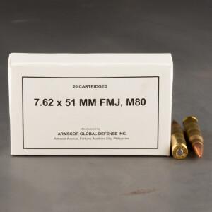 20rds – 7.62x51 Armscor 147gr. FMJ M80 Ammo