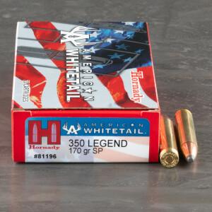 20rds – 350 Legend Hornady American Whitetail 170gr. InterLock Ammo