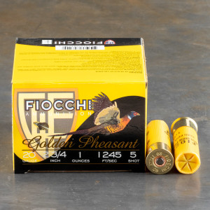 "25rds - 20 Gauge Fiocchi 2 3/4"" 1oz. #5 Shot Golden Pheasant  Nickel Plated"