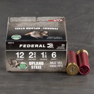 """25rds – 12 Gauge Federal Upland Steel 2-3/4"""" 1-1/8oz. #6 Shot Ammo"""