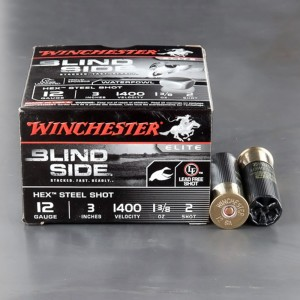 "25rds - 12 Ga. Winchester Elite Blind Side 3"" 1 3/8oz #2 Hex Steel Shot"