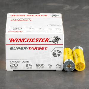 """250rds - 20 Gauge Winchester Super Target 2 3/4"""" 7/8oz. #7 1/2 Shot"""