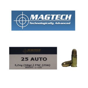 50rds - 25 Auto MAGTECH 50gr. FMJ Ammo