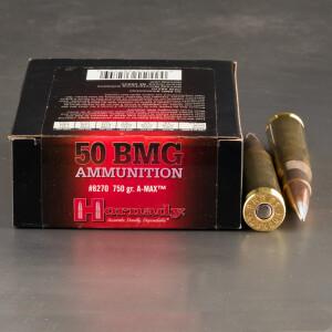 10rds - 50 Cal. BMG Hornady 750gr. A-Max Match Ammo