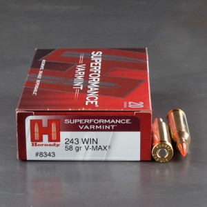 20rds – 243 Win Hornady Superformance 50gr. V-MAX Ammo