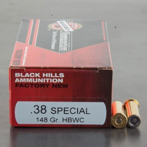 500rds - 38 Special Black Hills 148gr. Hollow Base Wadcutter Ammo