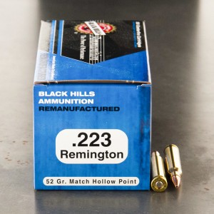 1000rds - 223 Black Hills 52gr. Remanufactured Match Hollow Point Ammo