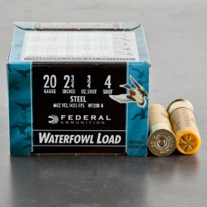"250rds - 20 Gauge Federal Speed-Shok 2 3/4"" 3/4oz. #4 Steel Shot Ammo"