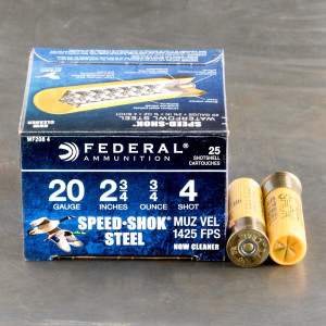 "250rds – 20 Gauge Federal Speed-Shok 2-3/4"" 3/4oz. #4 Steel Shot Ammo"