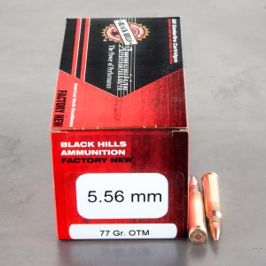 50rds – 5.56x45mm Black Hills Ammunition 77gr. Sierra Open Tip Match Ammo