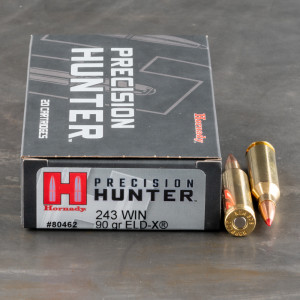20rds – 243 Win Hornady Precision Hunter 90gr. ELD-X Ammo