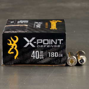 20rds – 40 S&W Browning X-Point Defense 180gr. JHP Ammo