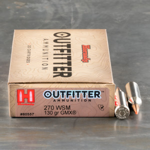 20rds – 270 WSM Hornady Outfitter 130gr. GMX Ammo