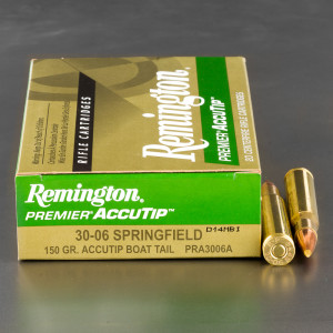 20rds - 30-06 Remington 150gr. Premier AccuTip Boat Tail Ammo
