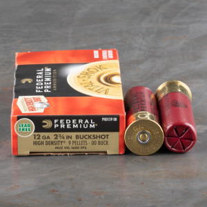 "5rds – 12 Gauge Federal Vital-Shok 2-3/4"" 9 Pellet High Density 00 Buckshot Ammo"