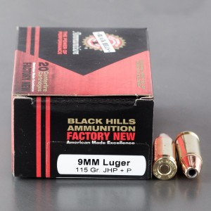 20rds - 9mm Luger Black Hills 115gr. +P JHP Ammo