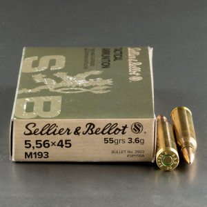 1000rds – 5.56x45 Sellier & Bellot 55gr. FMJ M193 Ammo