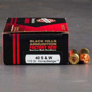20rds – 40 S&W Black Hills 115gr. HoneyBadger Ammo