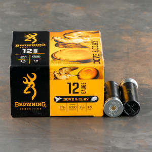 "25rds – 12 Gauge Browning Dove & Clay 2-3/4"" 1-1/8oz. #7.5 Shot Ammo"
