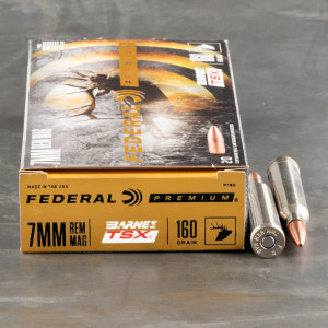 Federal 7mm Rem Mag Ammo with Barnes TSX bullet