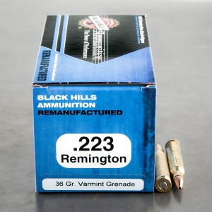 50rds - 223 Black Hills 36gr. Remanufactured Varmint Grenade HP Ammo