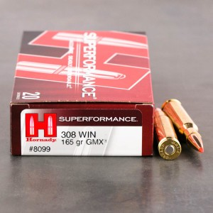 20rds - 308 Hornady Superformance 165gr. GMX Ammo