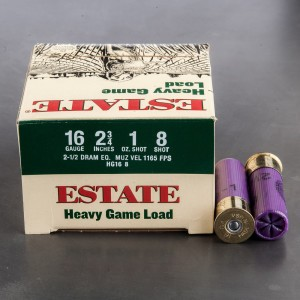 "25rds - 16 Gauge Estate Heavy Game Load 2 3/4"" 2 1/2 Dram 1oz. #8 Shot Ammo"
