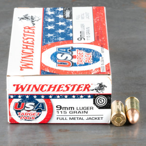 500rds – 9mm Winchester USA Target Pack 115gr. FMJ Ammo