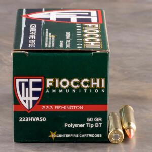 50rds - 223 Fiocchi 50gr. V-Max Polymer Tip Ammo