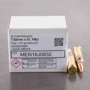 7.62x51mm - 147 Grain FMJ - Magtech/MEN - 320 Rounds