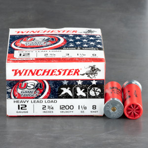 "250rds – 12 Gauge Winchester USA Game & Target 2-3/4"" 1-1/8oz. #8 Shot Ammo"