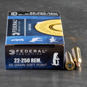 20rds – 22-250 Federal Power-Shok 55gr. SP Ammo