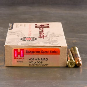 20rds - 458 Win. Mag. Hornady 500gr. DGS Superformance Ammo