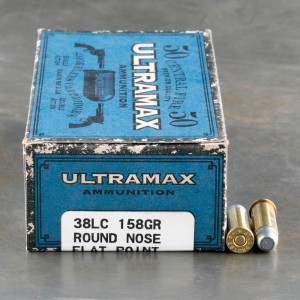 50rds - 38 Long Colt Ultramax 158gr. Round Nose Flat Point Ammo