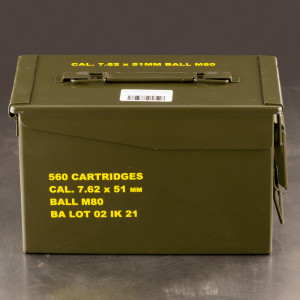 560rds – 7.62x51 Igman 147gr. FMJ M80 Ammo in Ammo Can