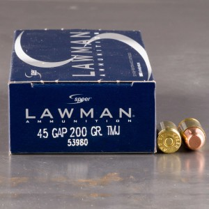 50rds - 45 GAP Speer Lawman 200gr. TMJ Ammo