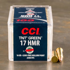 50rds - 17 HMR CCI TNT Green 16gr. Lead Free Hollow Point Ammo