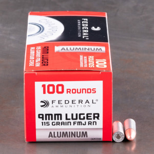 100rds - 9mm Federal Champion Aluminum 115gr. FMJ RN Ammo