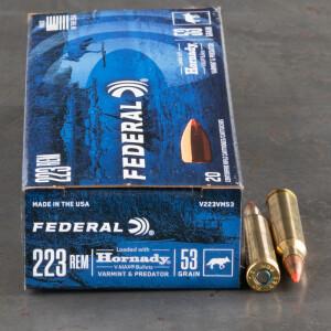 20rds – 223 Rem Federal Varmint & Predator 53gr. V-MAX Ammo