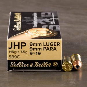 50rds - 9mm Sellier & Bellot 115gr. Hollow Point Ammo