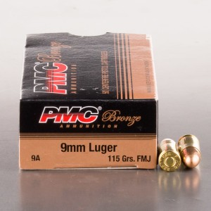 1000rds – 9mm PMC Bronze 115gr. FMJ Ammo