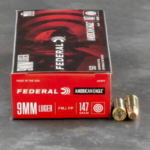 1000rds - 9mm Federal American Eagle 147gr. FMJ Ammo